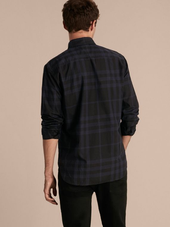 Navy intenso Camicia in cotone con motivo tartan Navy Intenso - cell image 2