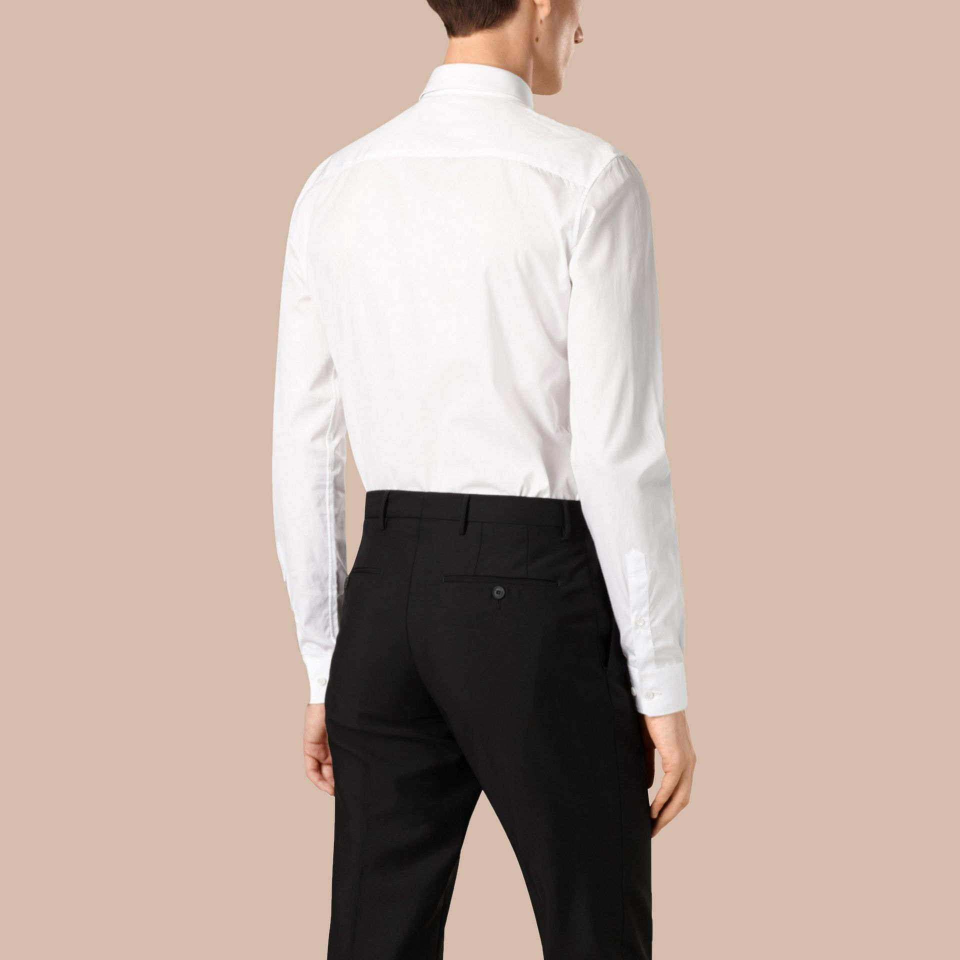 Slim Fit Cotton Poplin Shirt in White - gallery image 3