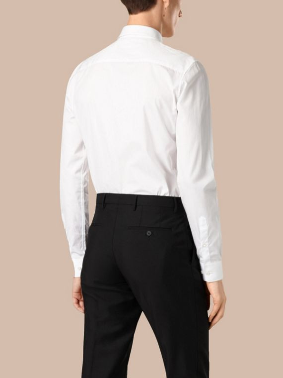 Slim Fit Cotton Poplin Shirt in White - Men | Burberry Singapore - cell image 2
