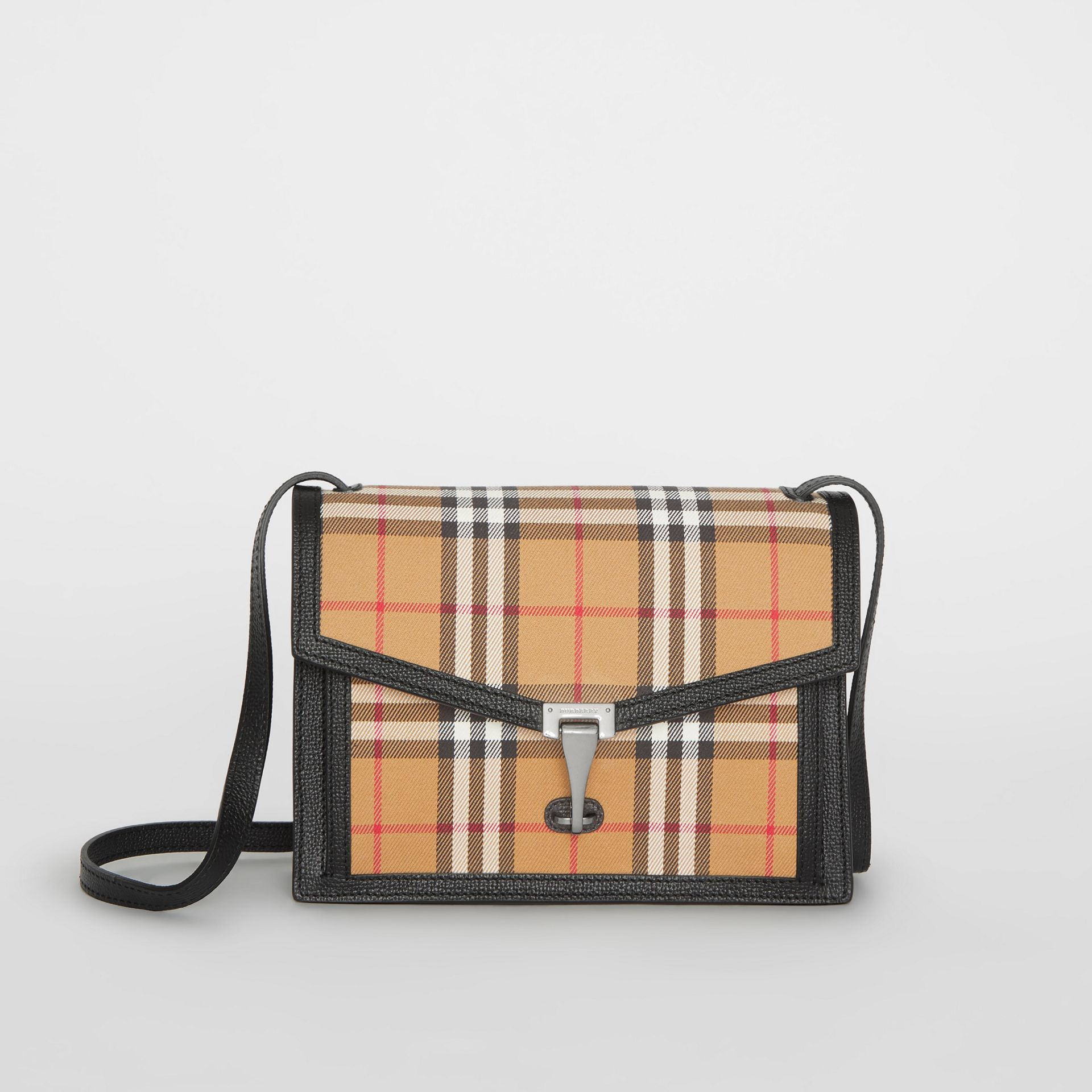 Small Vintage Check and Leather Crossbody Bag in Black - Women | Burberry Australia - gallery image 0