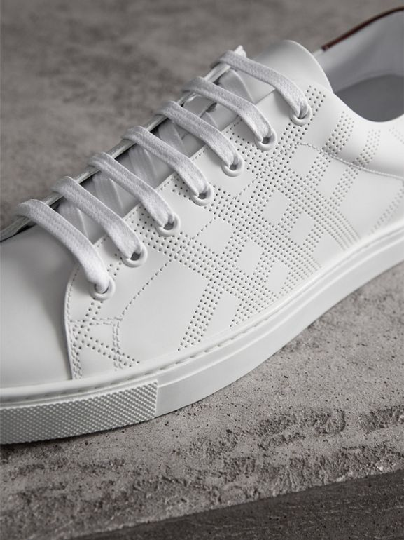 Perforated Check Leather Sneakers in Optic White - Men | Burberry - cell image 1