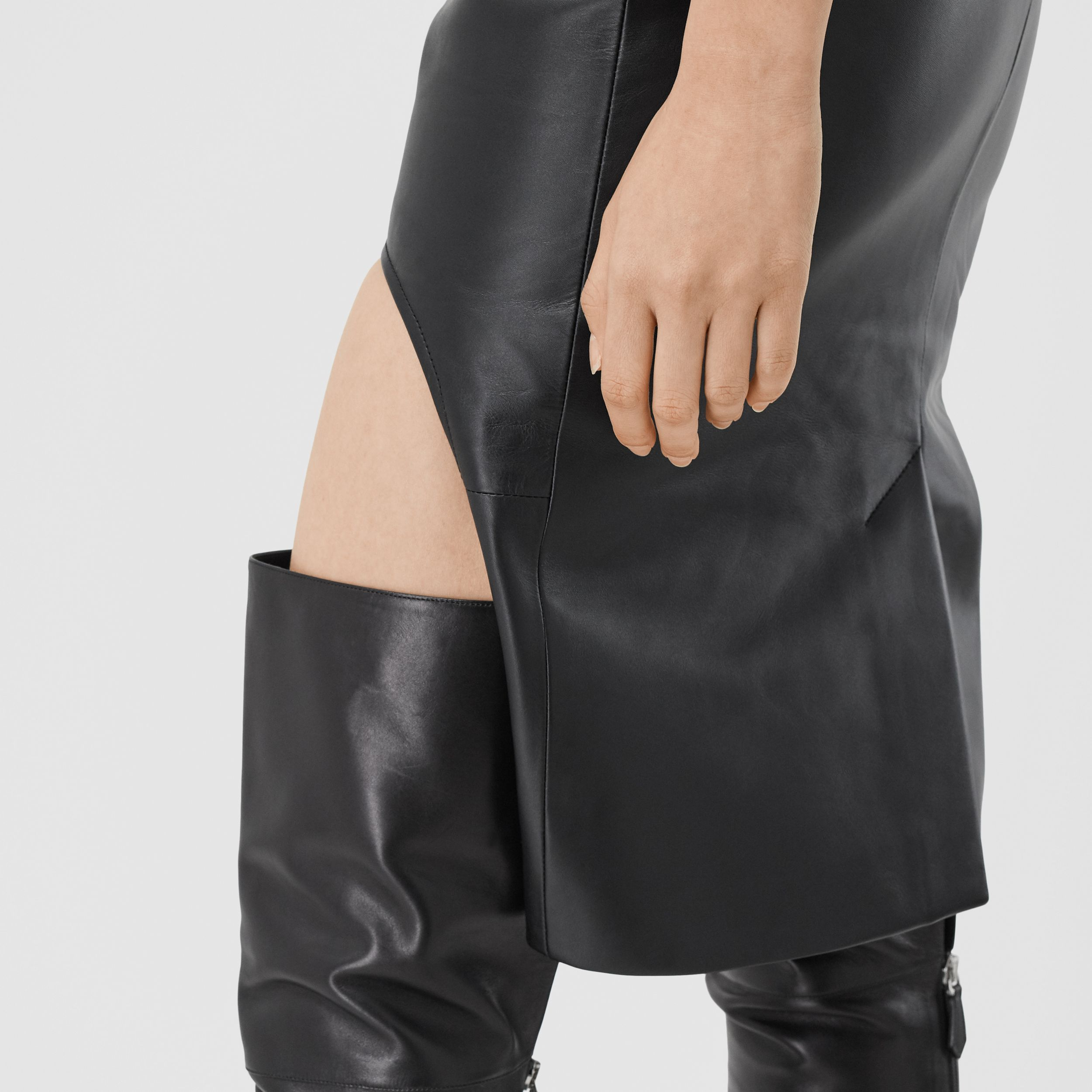 Leather Step-through Pencil Skirt in Black - Women | Burberry - 4