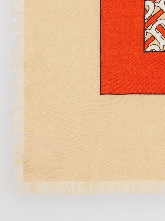 Monogram Print Lightweight Cashmere Scarf in Vermilion | Burberry United Kingdom - cell image 1