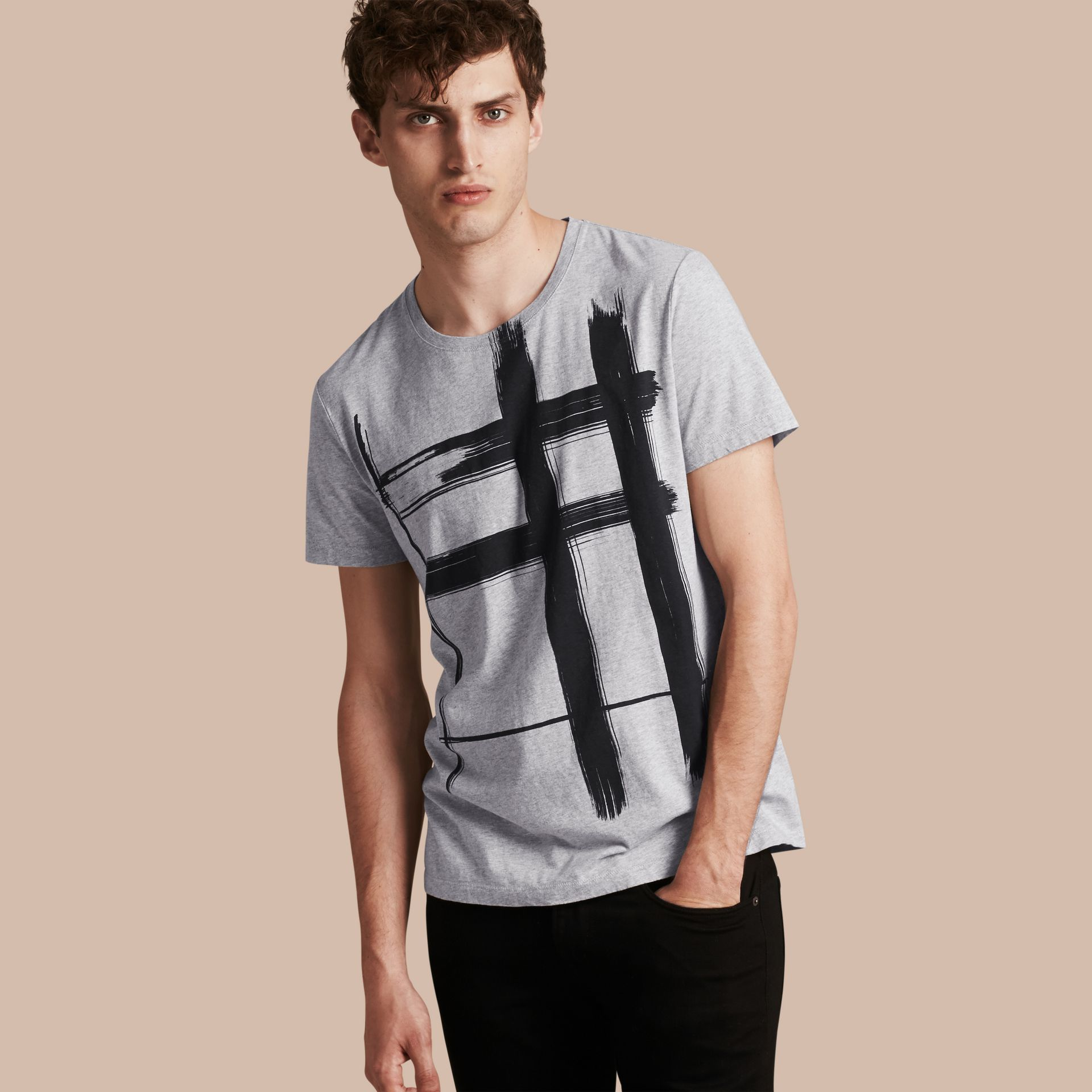 Pale grey melange Brushstroke Check Print Cotton T-Shirt Pale Grey Melange - gallery image 1