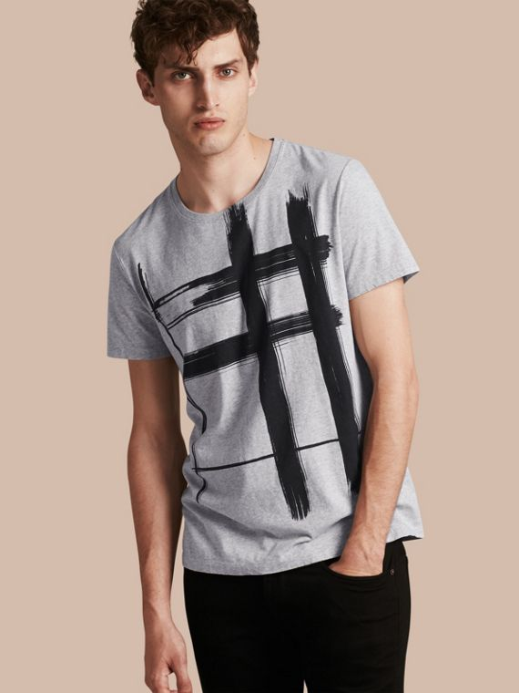 Brushstroke Check Print Cotton T-Shirt Pale Grey Melange