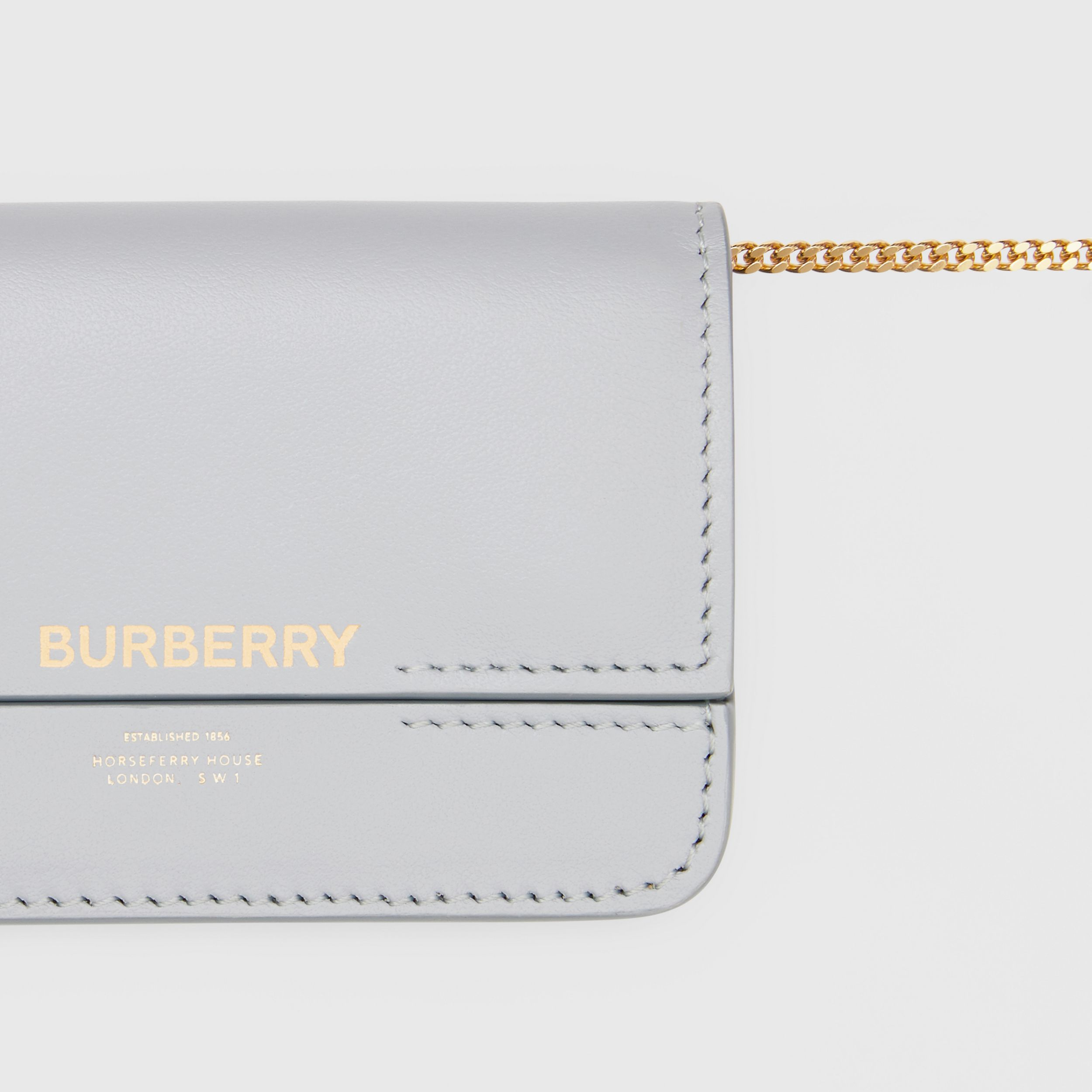 Leather Card Case with Chain Strap in Heather Melange | Burberry - 2