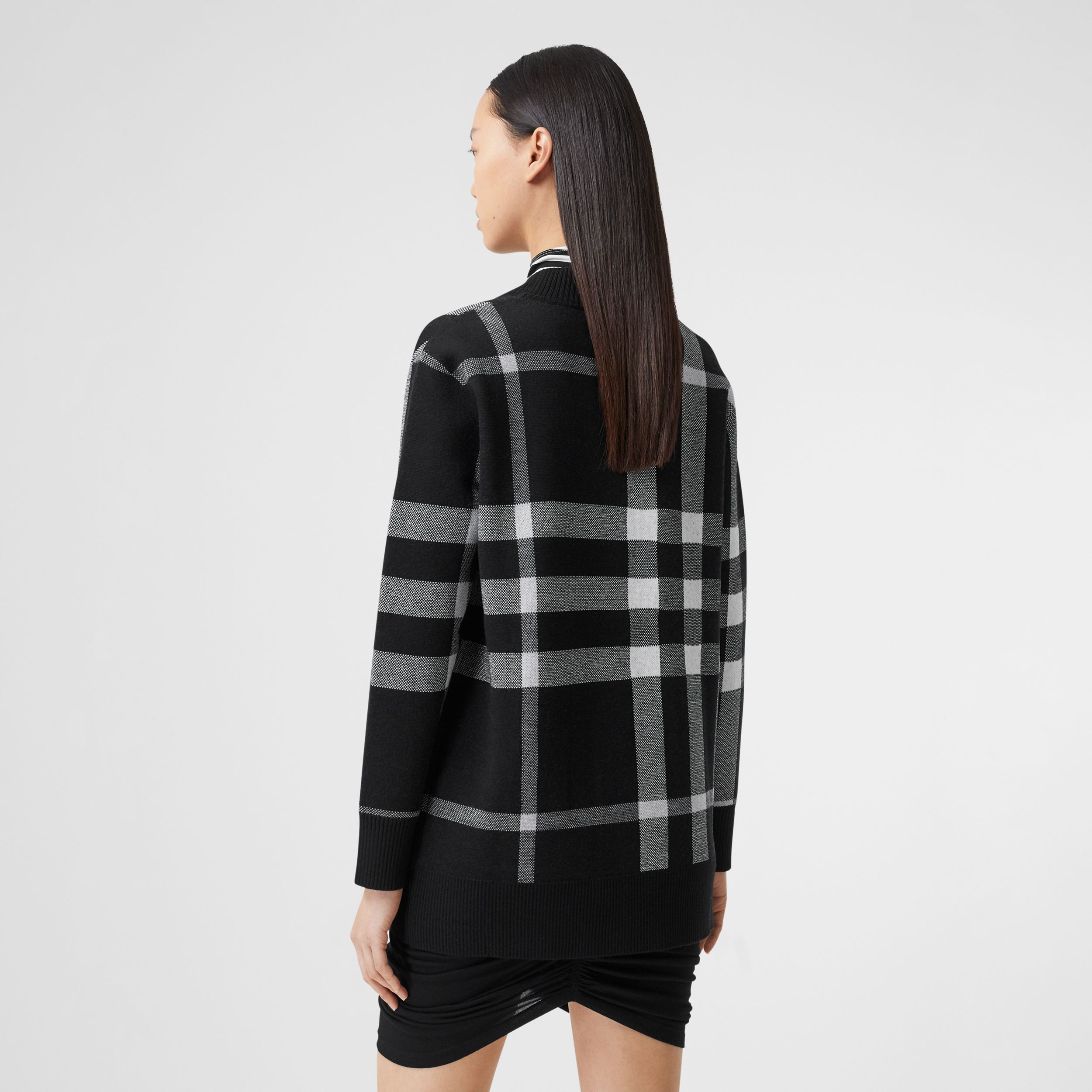Deer Motif Check Wool Blend Jacquard Cardigan in Black - Women | Burberry - 4
