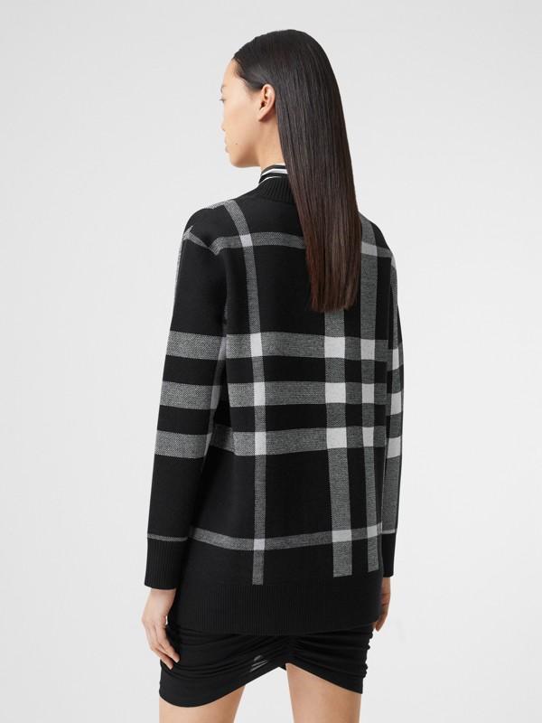 Deer Motif Check Wool Blend Jacquard Cardigan in Black - Women | Burberry - cell image 3