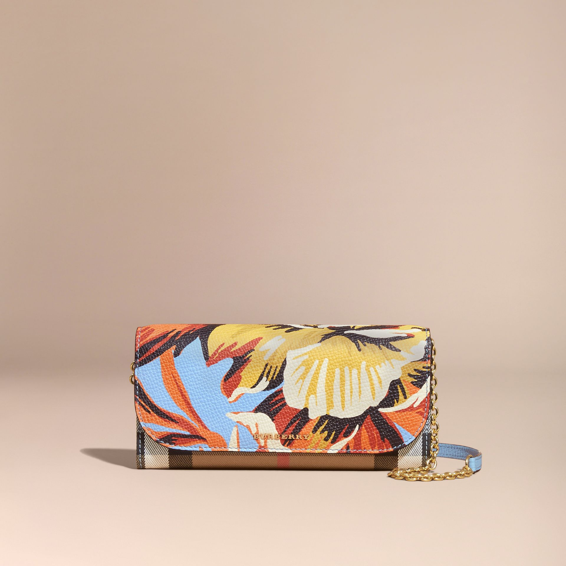 House Check and Peony Rose Print Wallet with Chain in Pale Blue/vibrant Orange - gallery image 8
