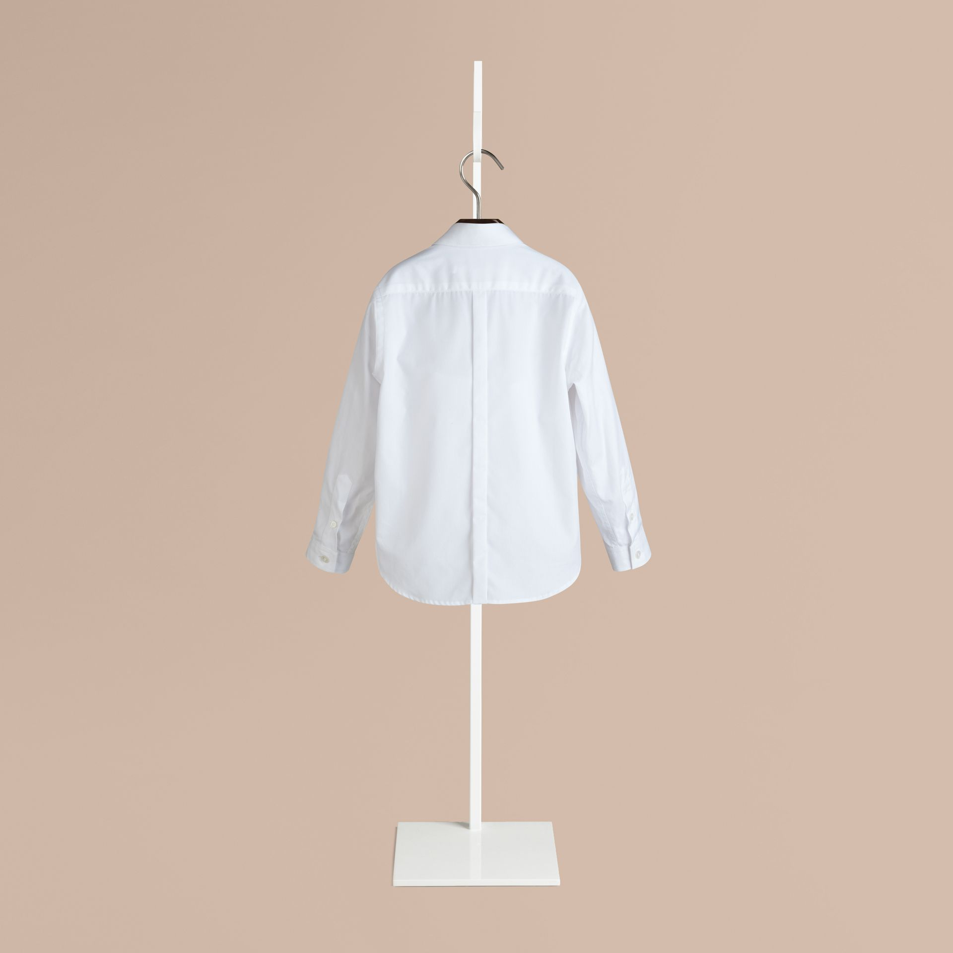 White Covered Placket Cotton Shirt - gallery image 2