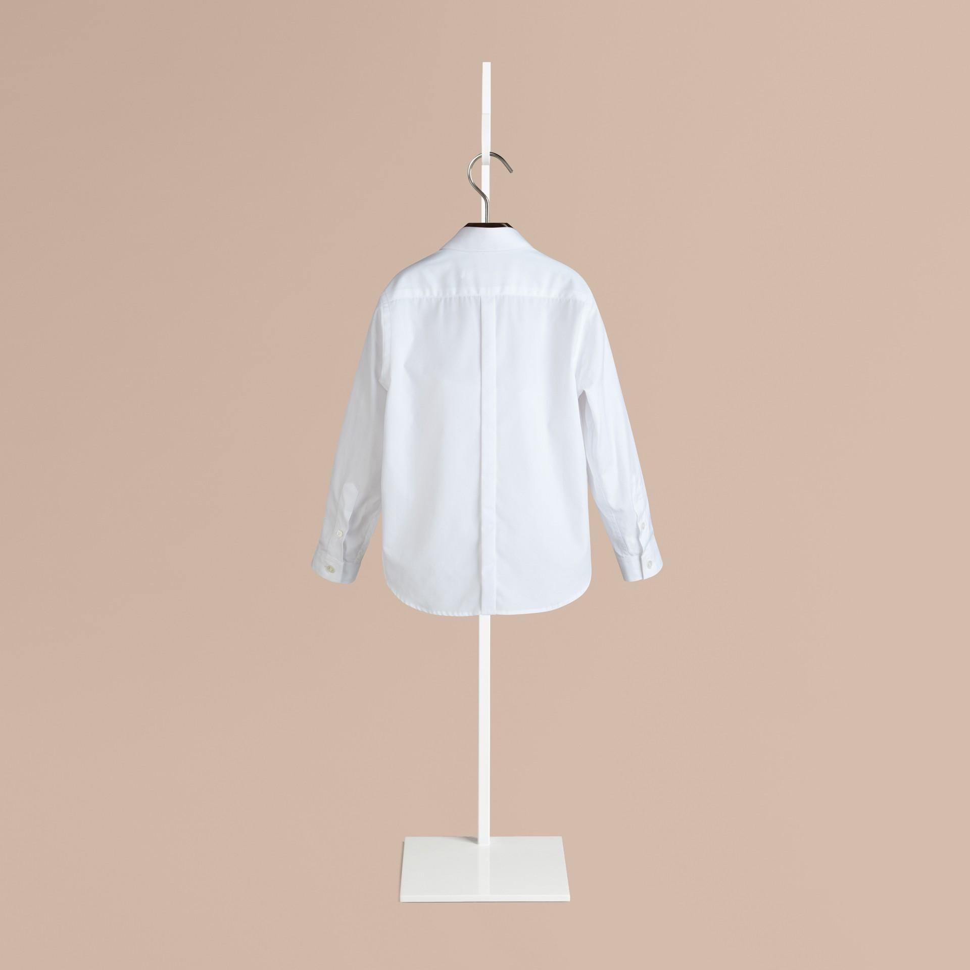 화이트 커버 플래킷 코튼 셔츠 - 갤러리 이미지 2