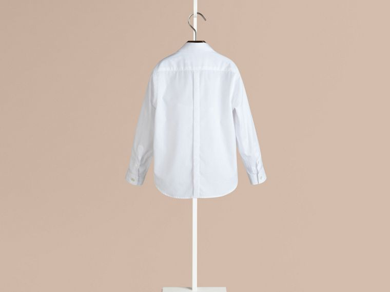 White Covered Placket Cotton Shirt - cell image 1