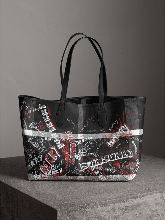 Borsa tote The Doodle media reversibile (Nero)