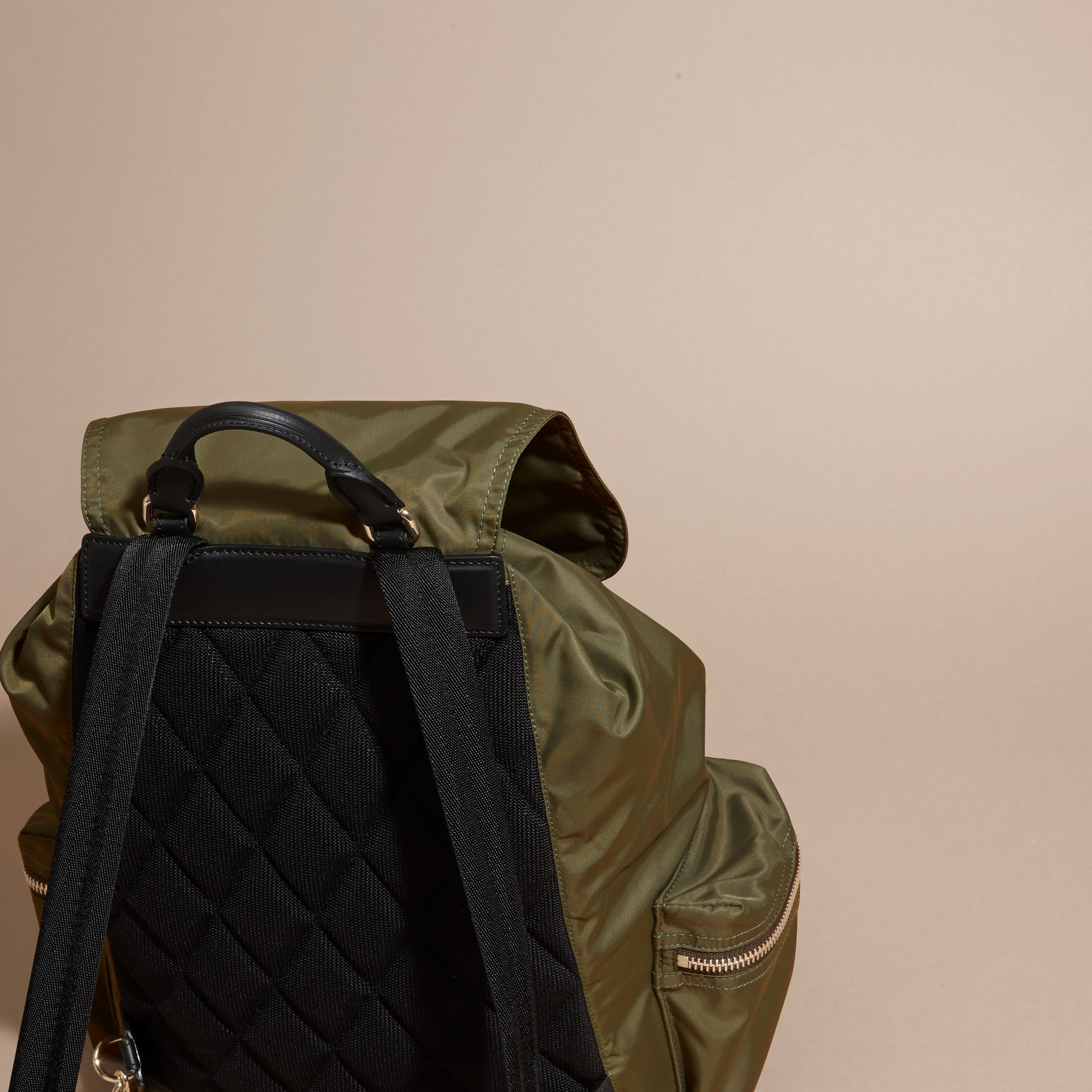 The Large Rucksack in Technical Nylon and Leather Canvas Green - gallery image 4