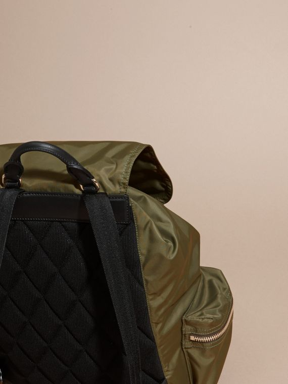 The Large Rucksack in Technical Nylon and Leather in Canvas Green - cell image 3