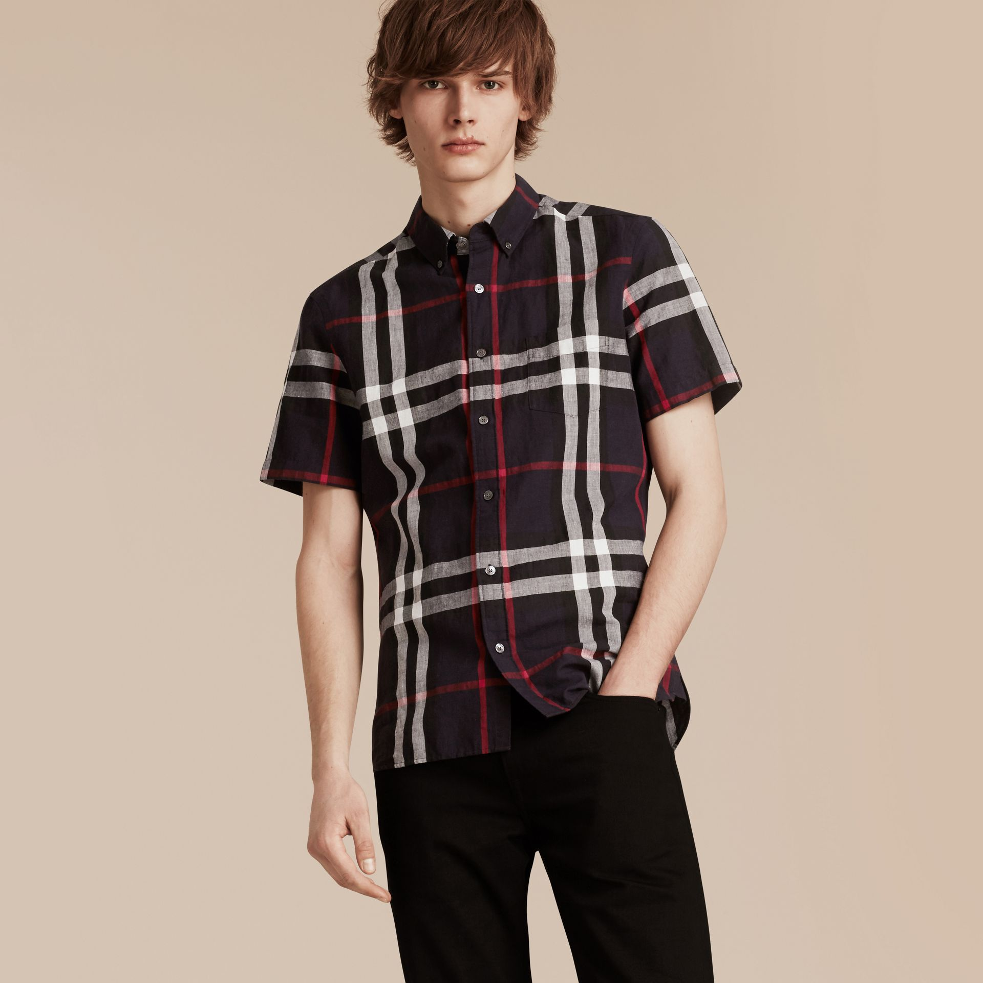 Short-sleeved Check Linen Cotton Shirt in Navy - Men | Burberry - gallery image 1
