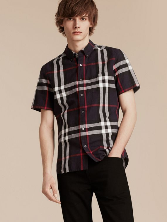 Short-sleeved Check Linen Cotton Shirt Navy