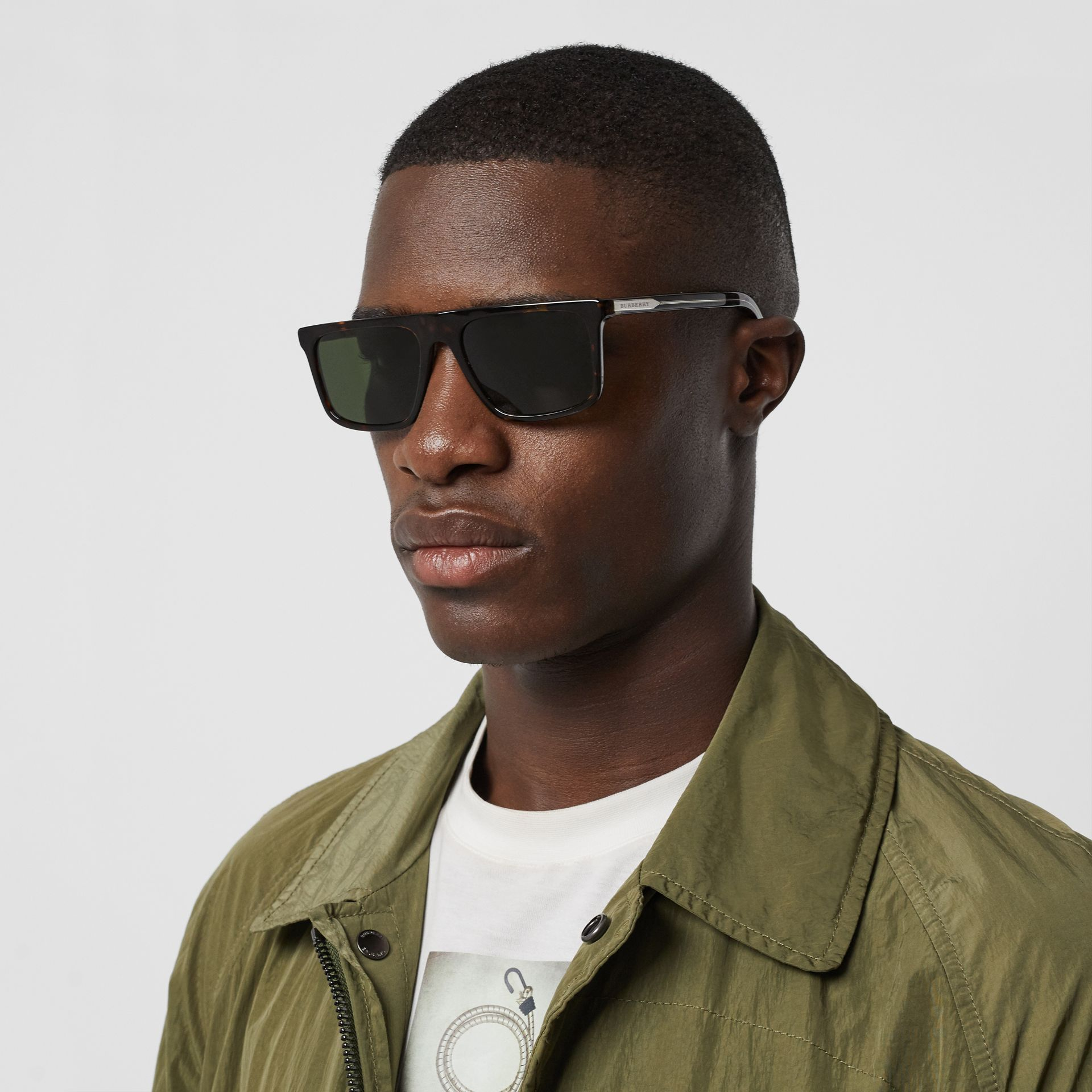 Straight-brow Sunglasses in Tortoise Shell - Men | Burberry - gallery image 3
