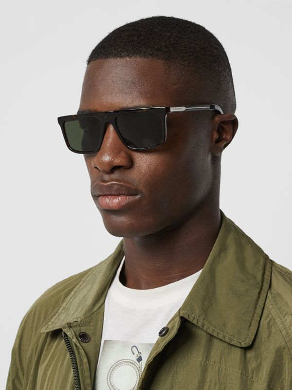 Straight-brow Sunglasses in Tortoise Shell - Men | Burberry - cell image 3