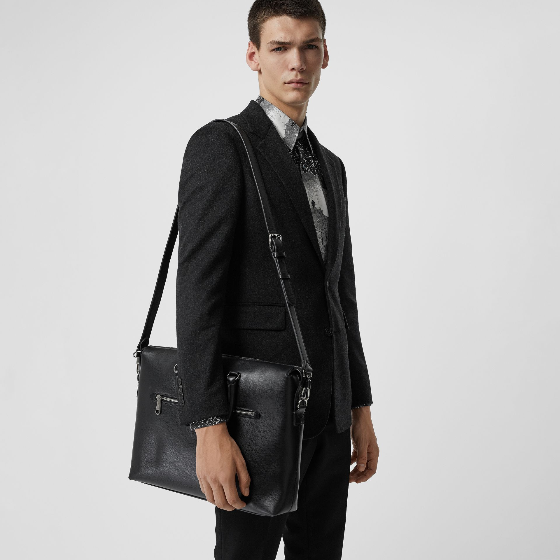 Large Textured Leather Briefcase in Black - Men | Burberry - gallery image 3