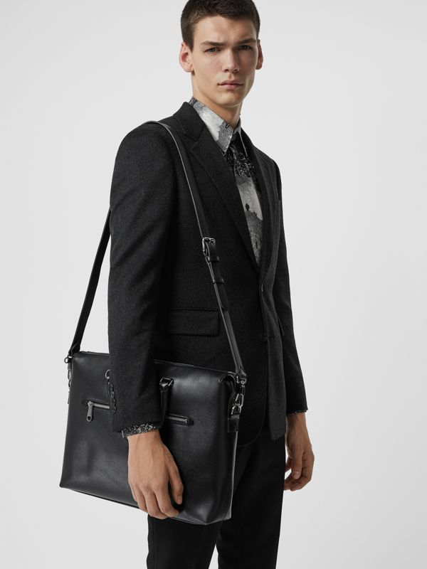 Large Textured Leather Briefcase in Black - Men | Burberry - cell image 3