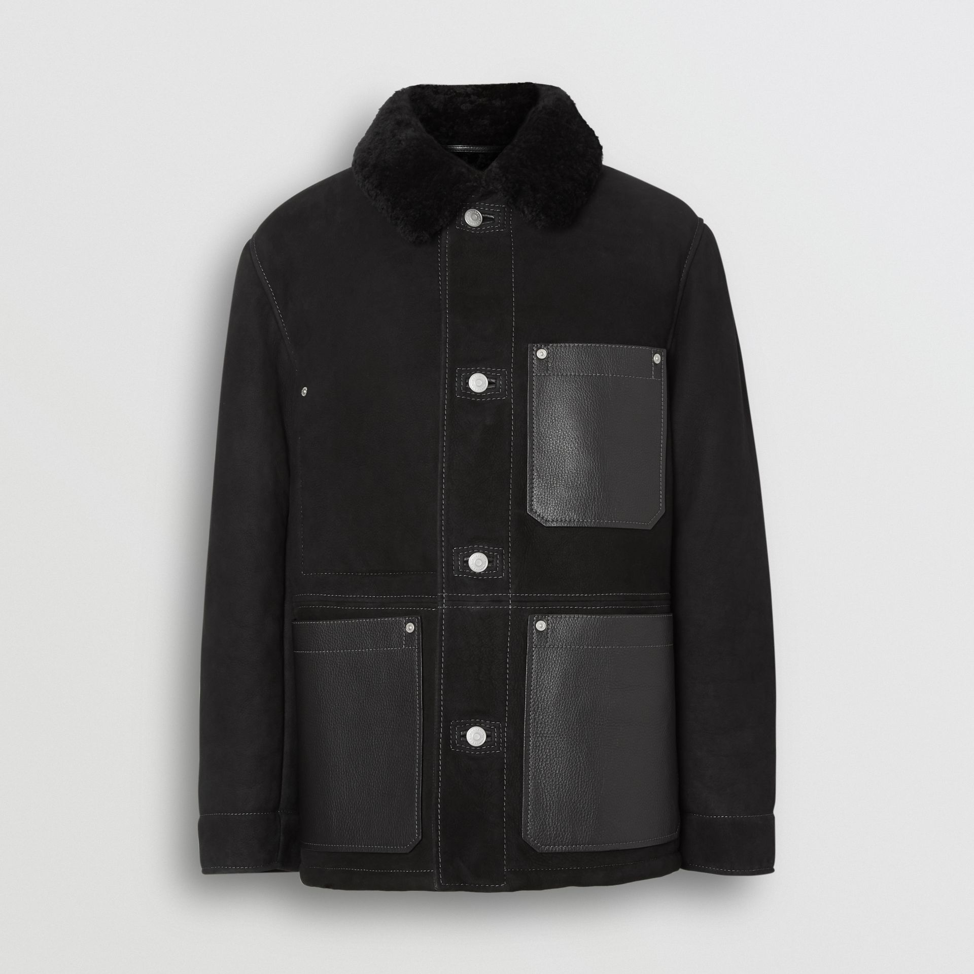 Leather Detail Shearling Workwear Jacket in Black - Men | Burberry Australia - gallery image 3