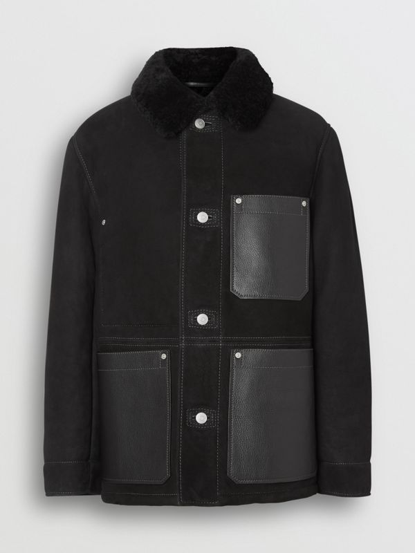 Leather Detail Shearling Workwear Jacket in Black - Men | Burberry Singapore - cell image 3