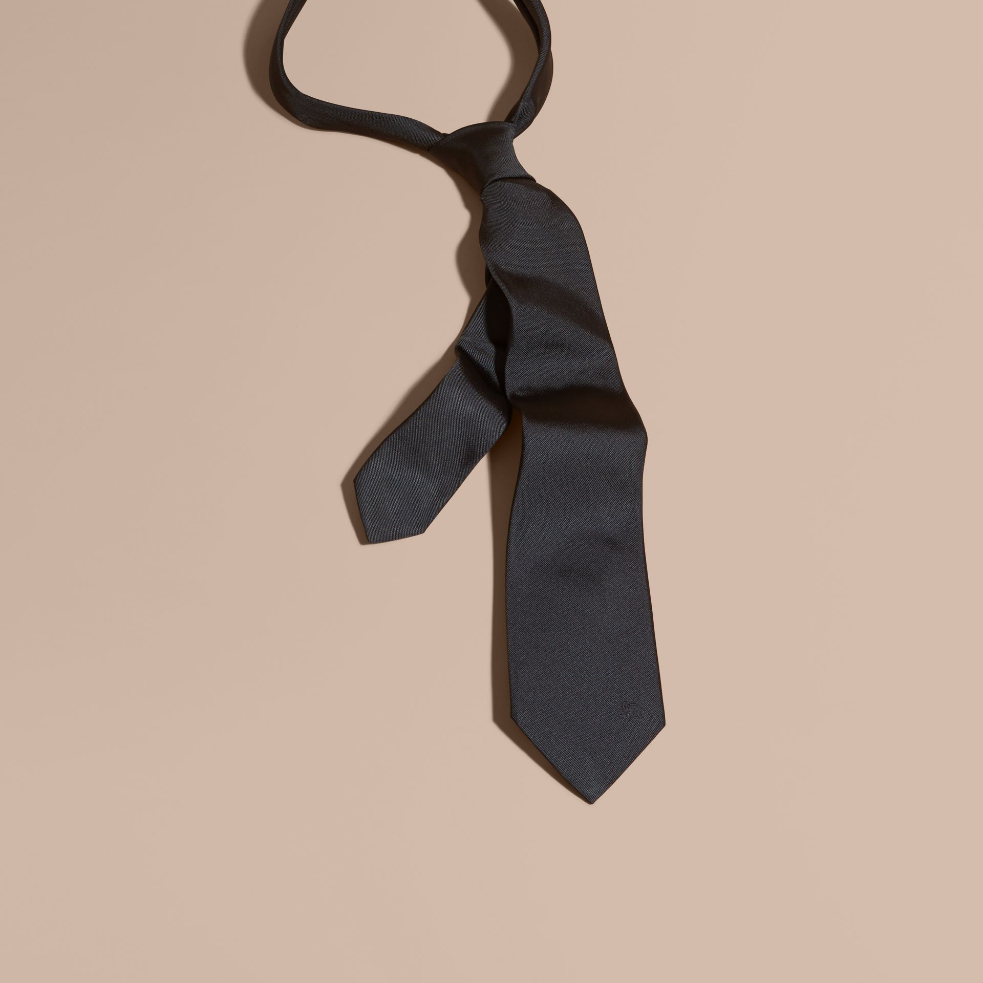 Black Modern Cut Silk Twill Tie Black - gallery image 1