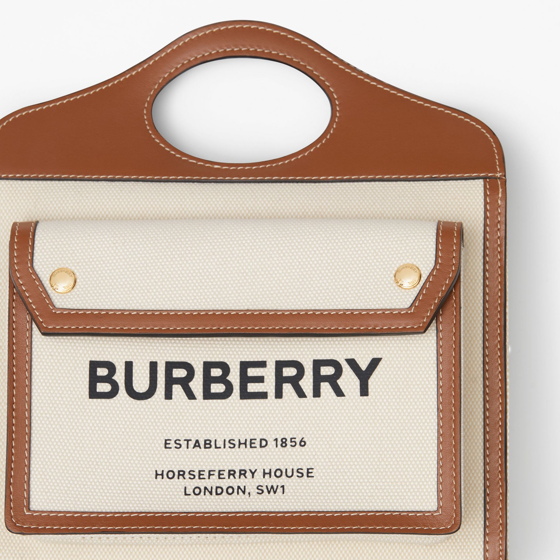 Mini Two-tone Canvas and Leather Pocket Bag in Natural/malt Brown - Women | Burberry - gallery image 1