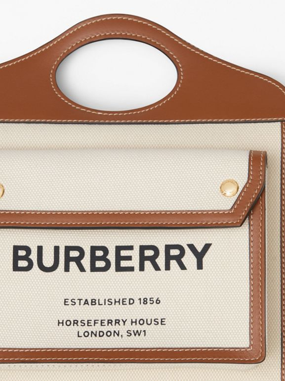 Borsa Pocket mini bicolore in tela e pelle (Naturale/marrone Malto) - Donna | Burberry - cell image 1