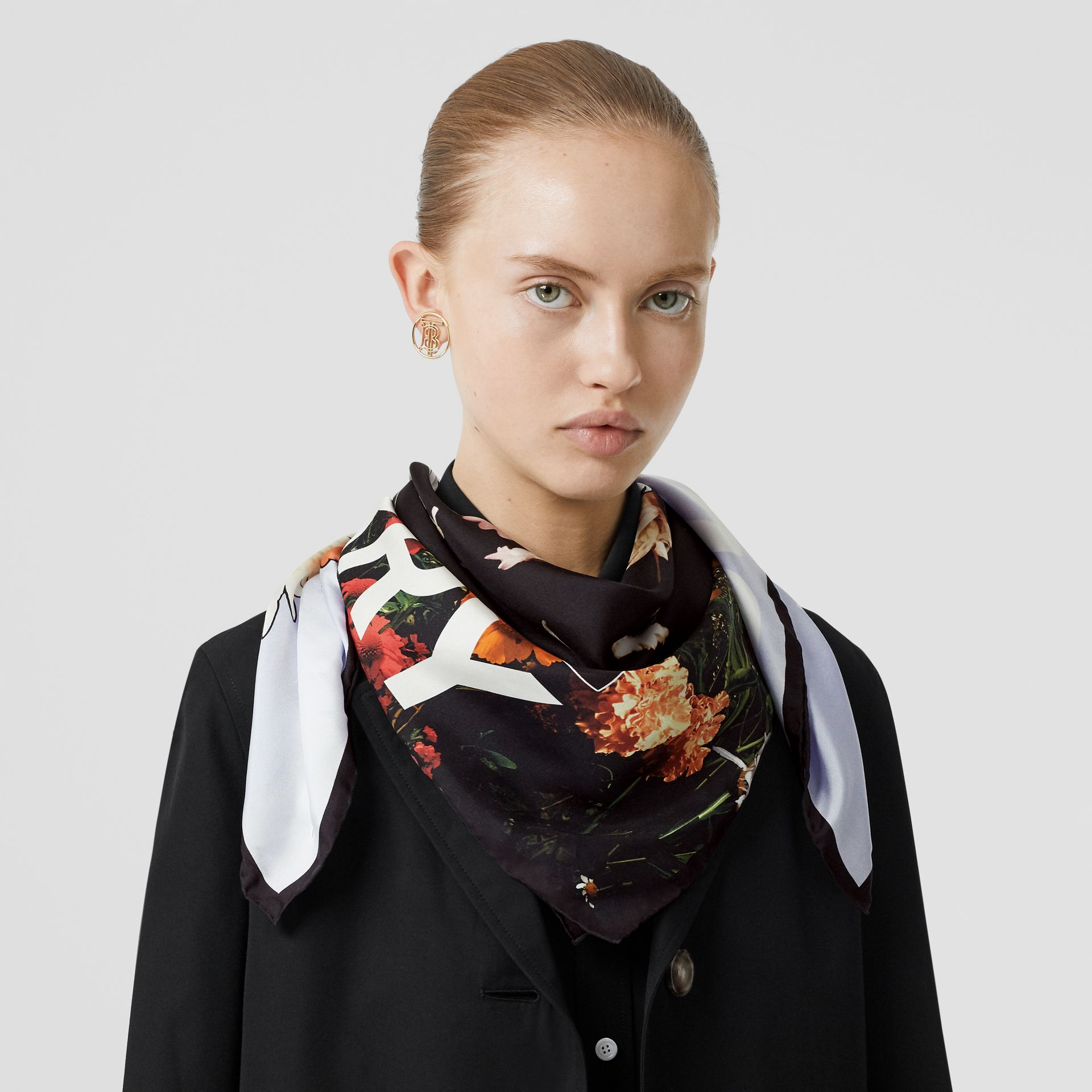Floral Print Silk Square Scarf in Multicolour | Burberry - gallery image 2