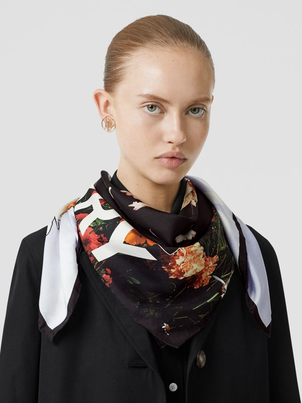 Floral Print Silk Square Scarf in Multicolour | Burberry Australia - cell image 2
