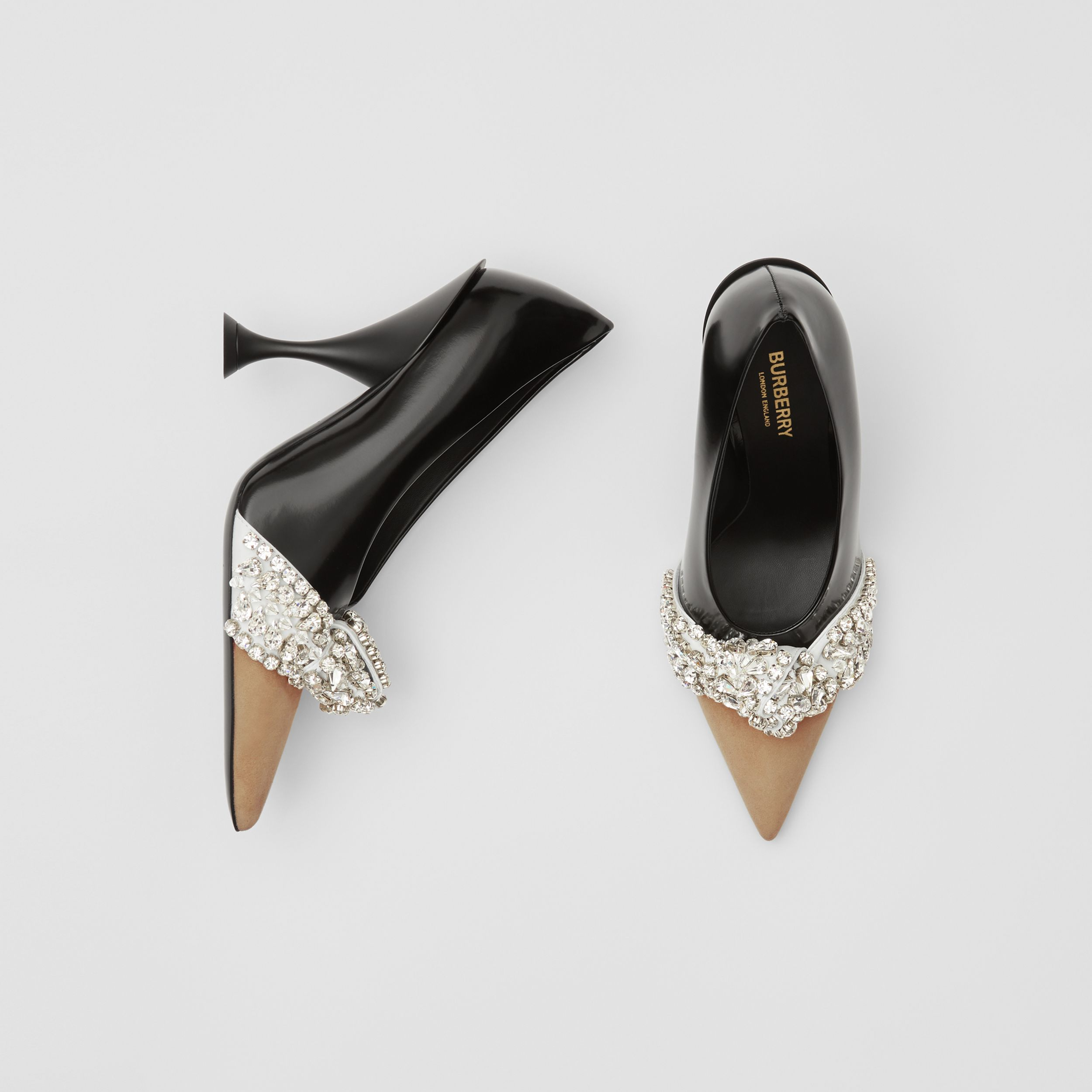 Crystal Detail Leather and Suede Point-toe Pumps in Black - Women | Burberry - 1
