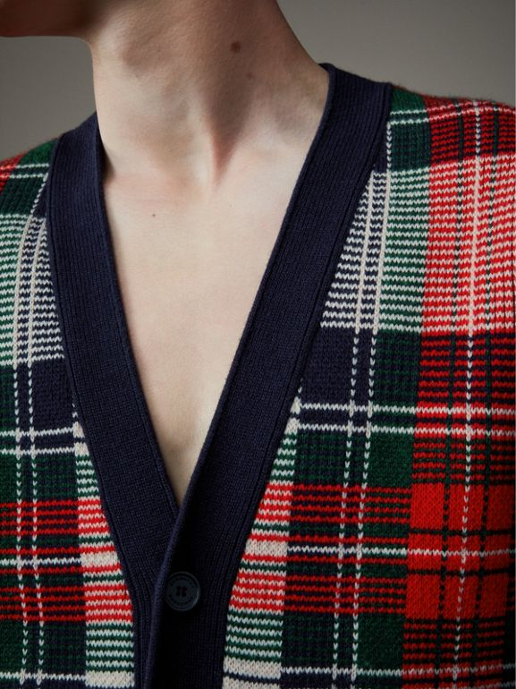 Tartan Knitted Cashmere Wool Cardigan in Natural White/ Navy - Men | Burberry - cell image 1