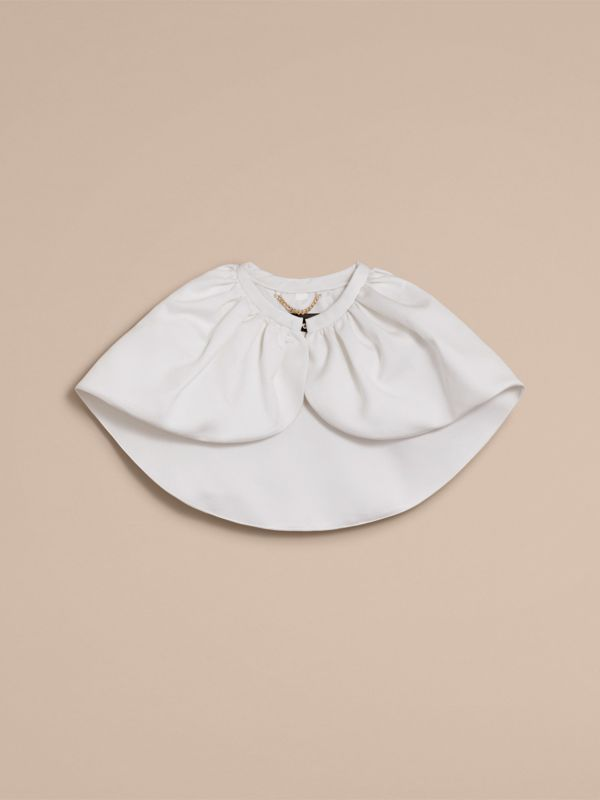 Cropped Cotton and Silk Cape in White | Burberry - cell image 3