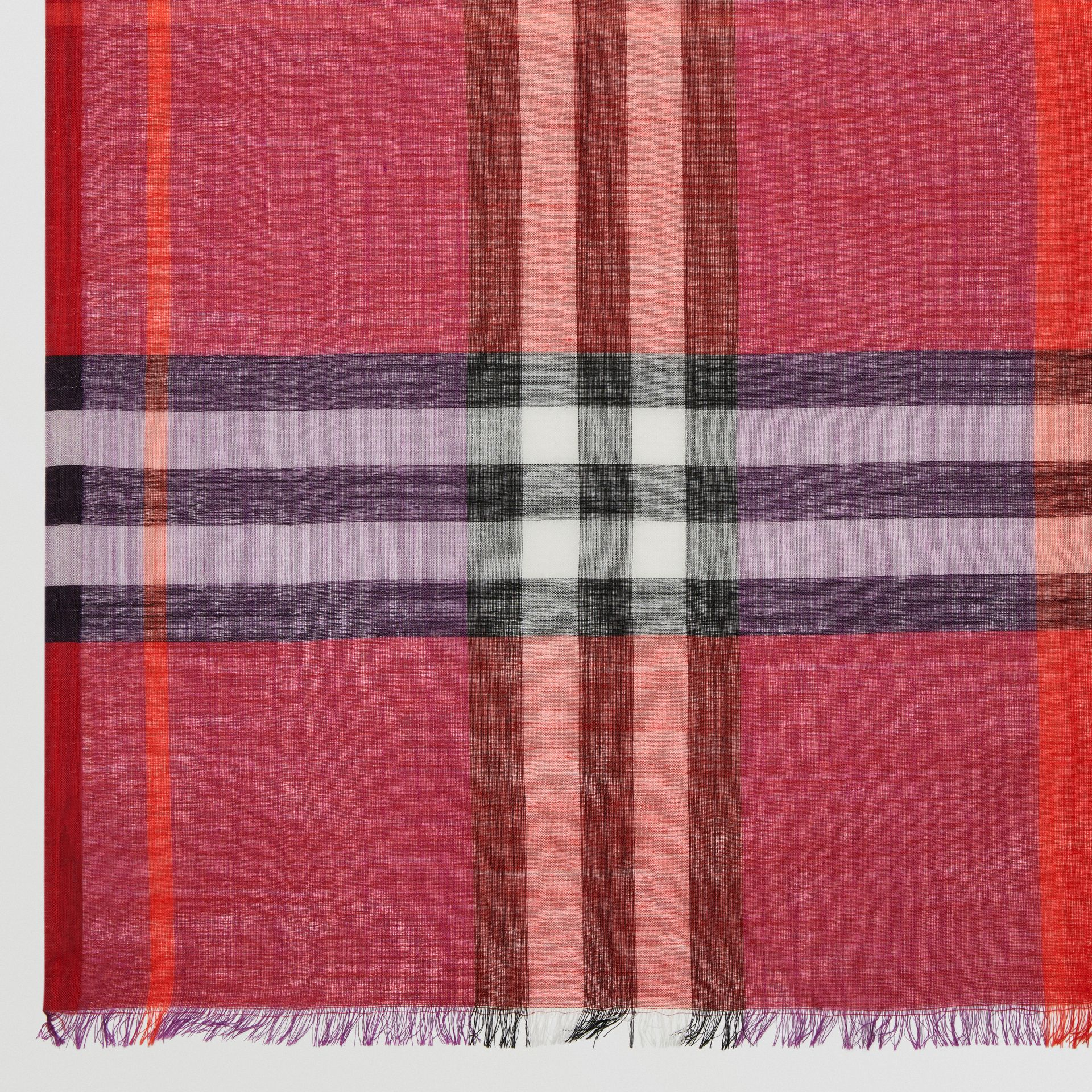 Colour Block Check Wool Silk Scarf in Bright Plum | Burberry - gallery image 1