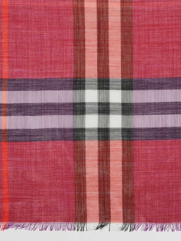 Colour Block Check Wool Silk Scarf in Bright Plum | Burberry - cell image 1