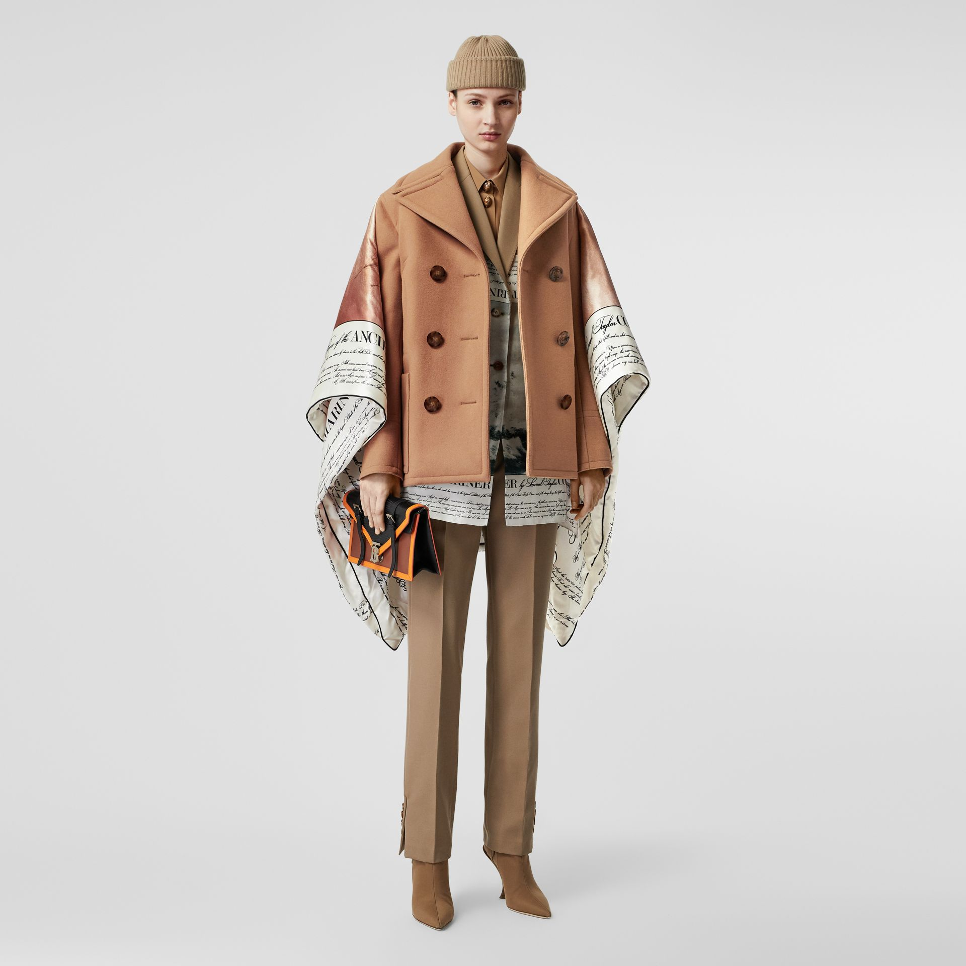 Mariner Print Blanket Detail Technical Wool Pea Coat in Warm Camel - Women | Burberry - gallery image 6