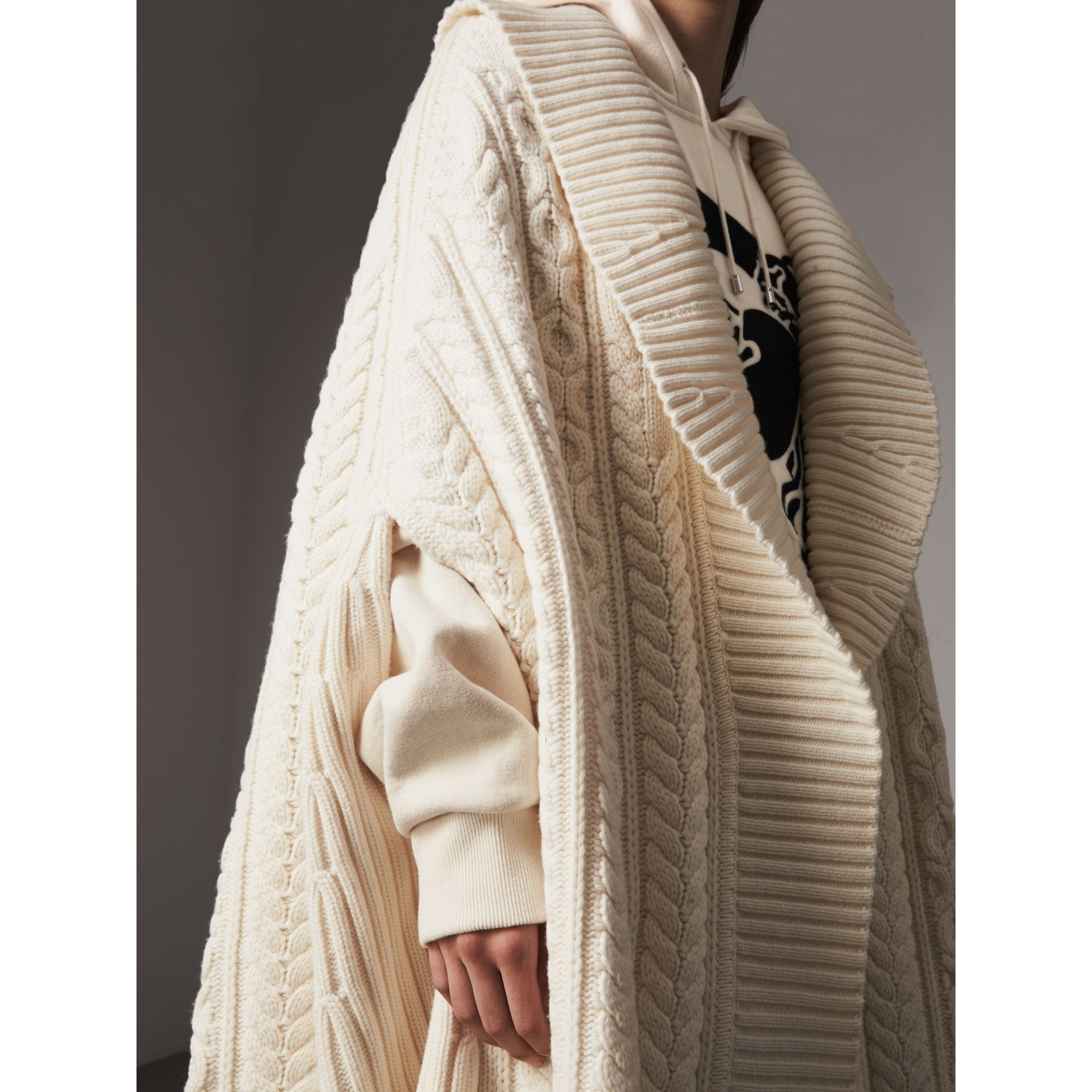 Cable Knit Wool Cashmere Poncho in Natural White - Women | Burberry - gallery image 1