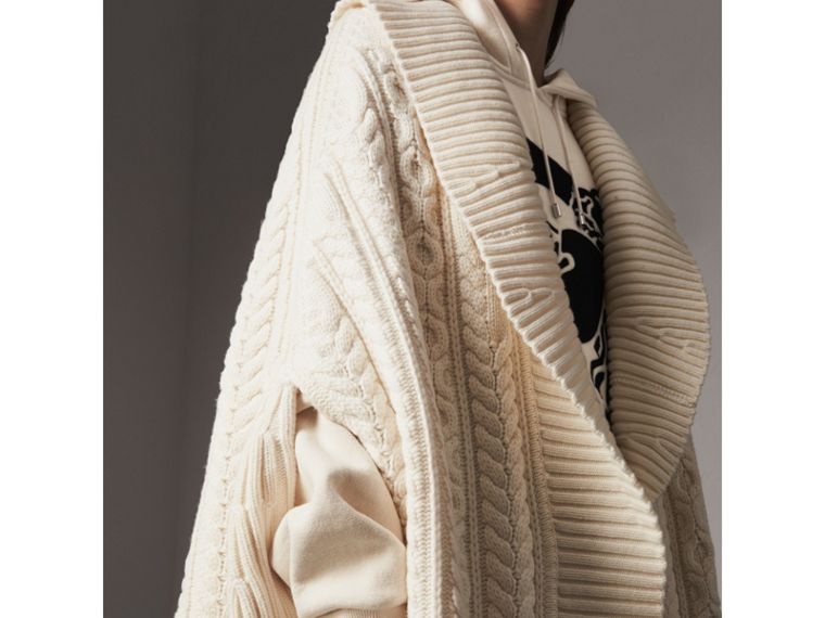 Cable Knit Wool Cashmere Poncho in Natural White - Women | Burberry - cell image 1
