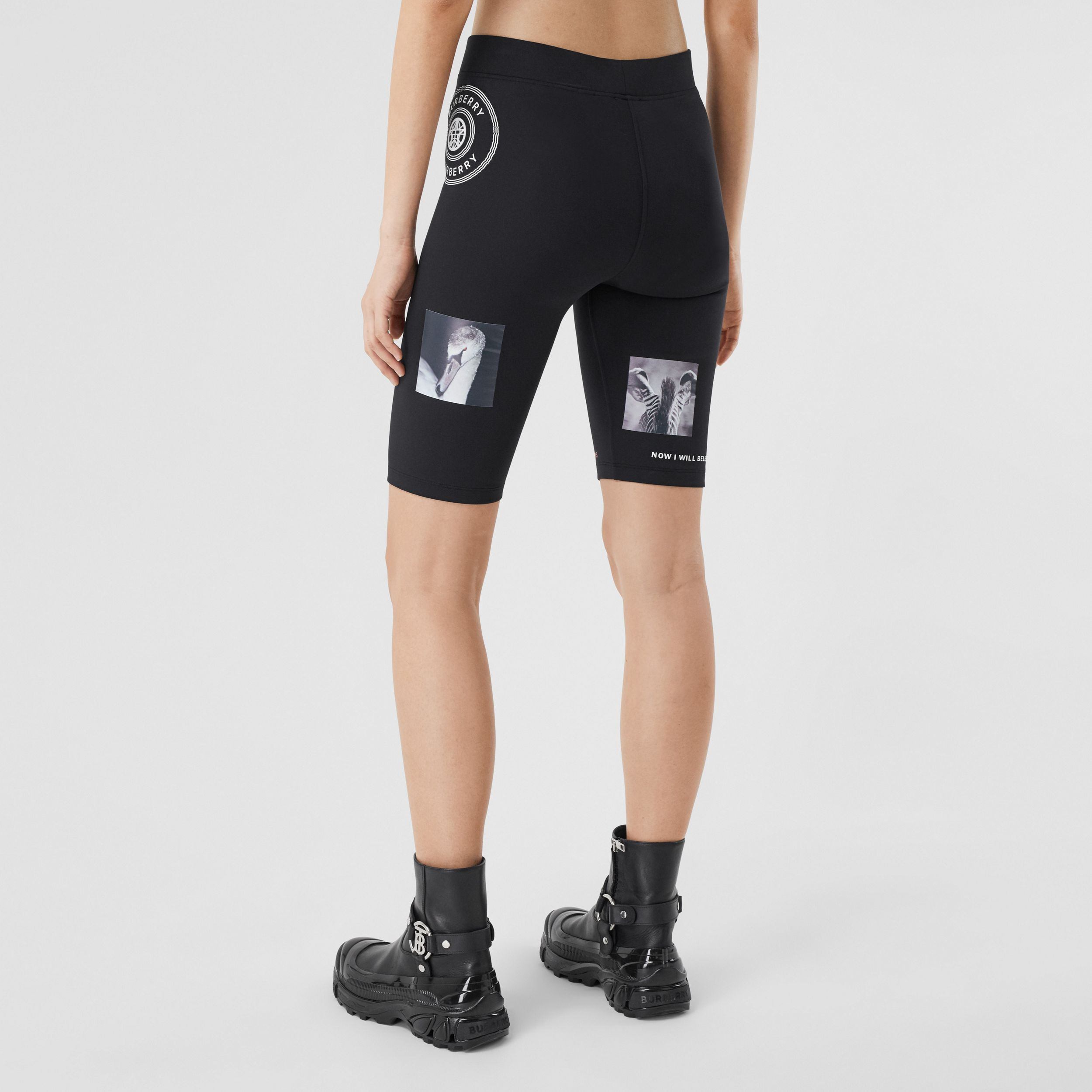 Montage Print Stretch Jersey Cycling Shorts in Black - Women | Burberry - 3