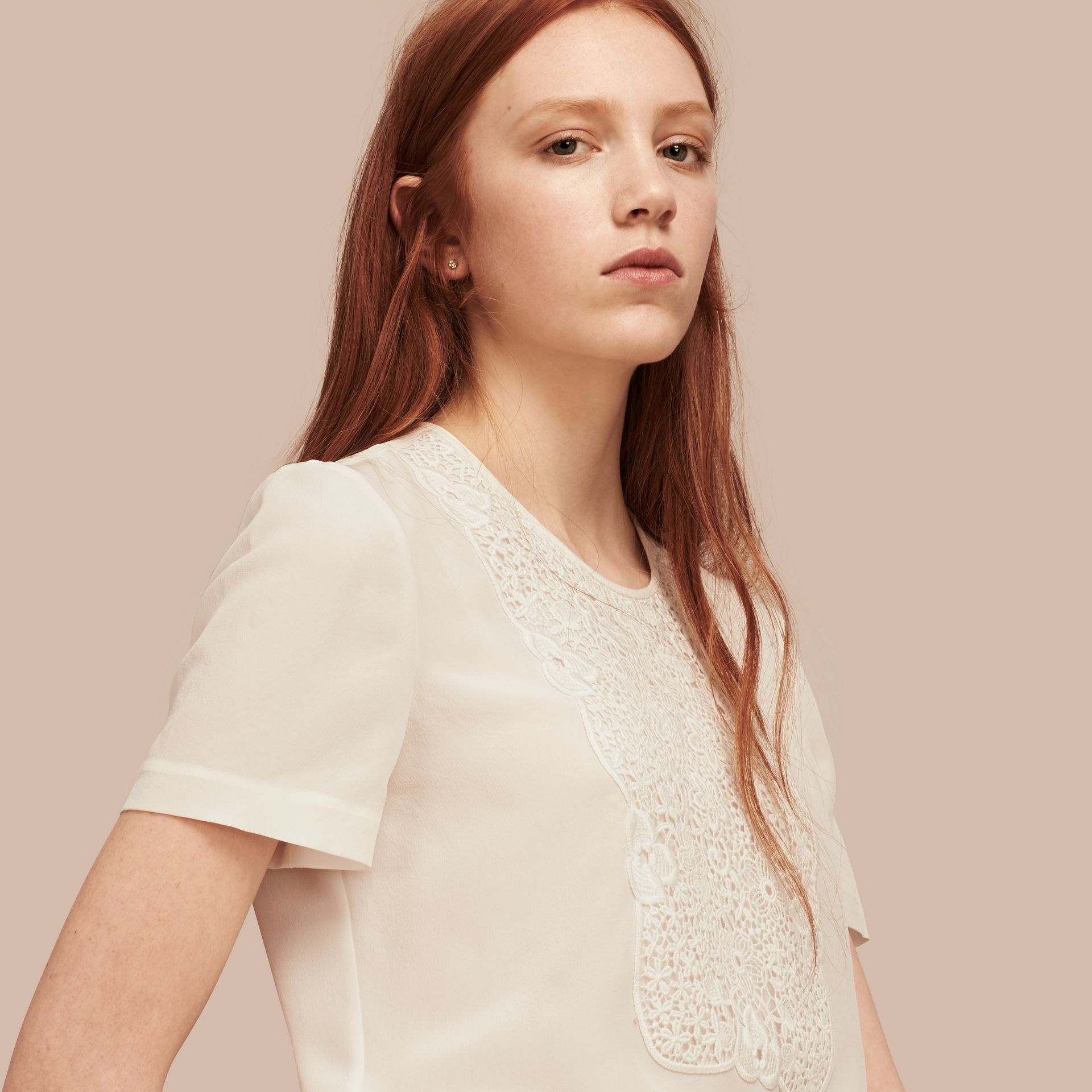 White Lace Panel Silk Top White - gallery image 6