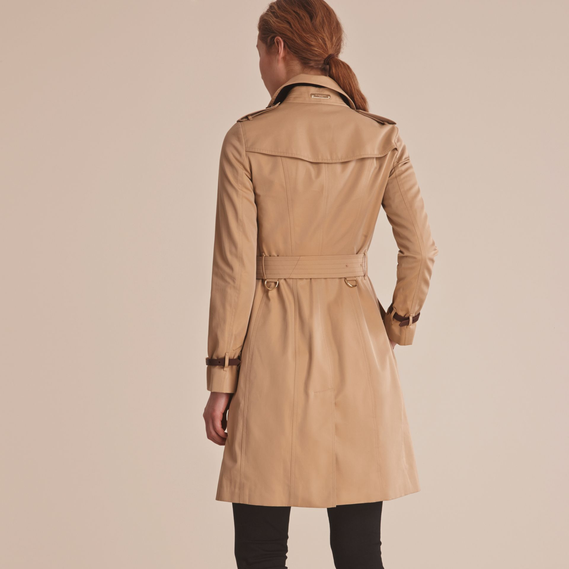 Leather Trim Cotton Gabardine Trench Coat Honey - gallery image 3