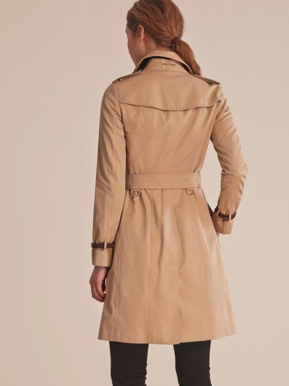 Leather Trim Cotton Gabardine Trench Coat in Honey - cell image 2