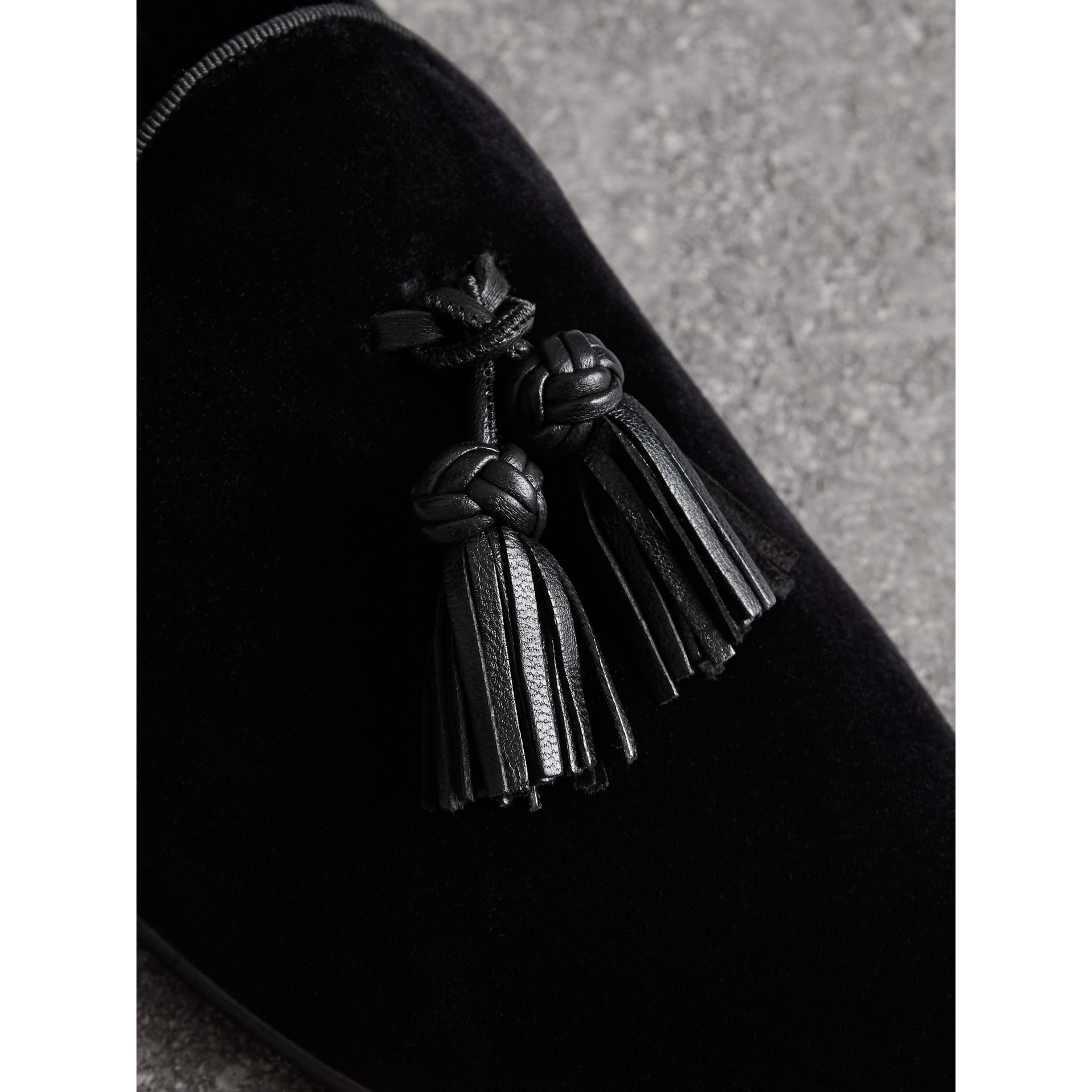 Tassel Detail Velvet Loafers in Black - Men | Burberry - gallery image 1