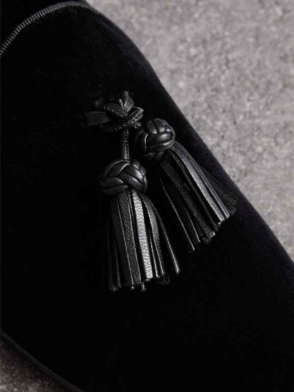 Tassel Detail Velvet Loafers in Black - Men | Burberry United Kingdom - cell image 1