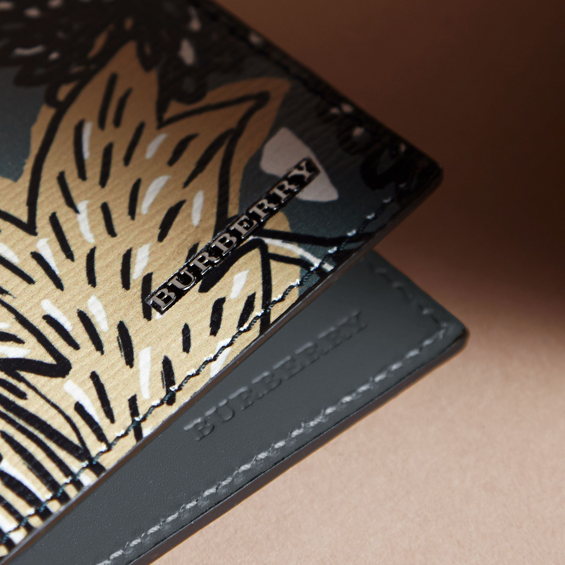 Beasts Print Leather Folding Wallet in Sage Green - Men | Burberry Singapore - gallery image 2
