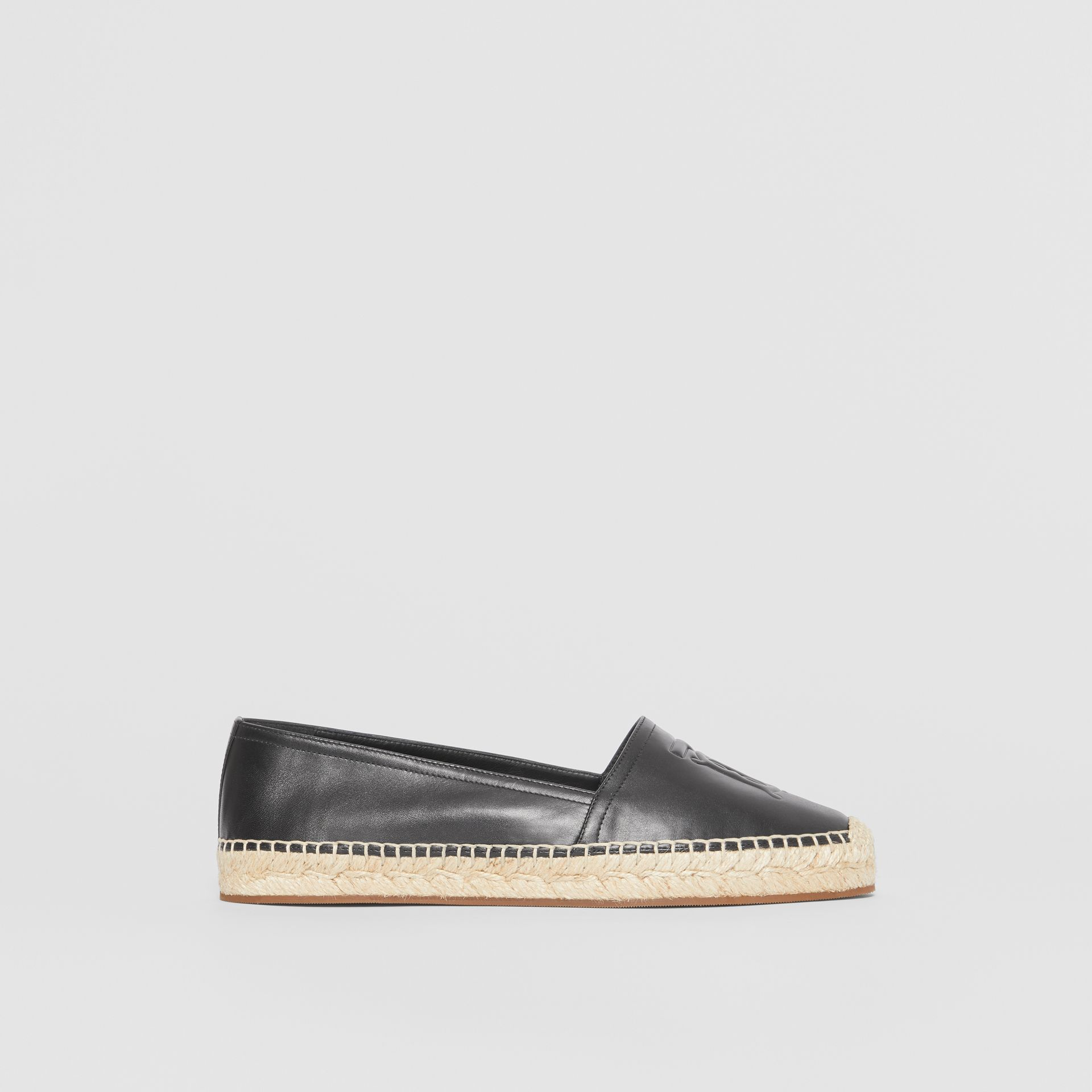 Monogram Motif Leather Espadrilles in Black - Women | Burberry United Kingdom - gallery image 5