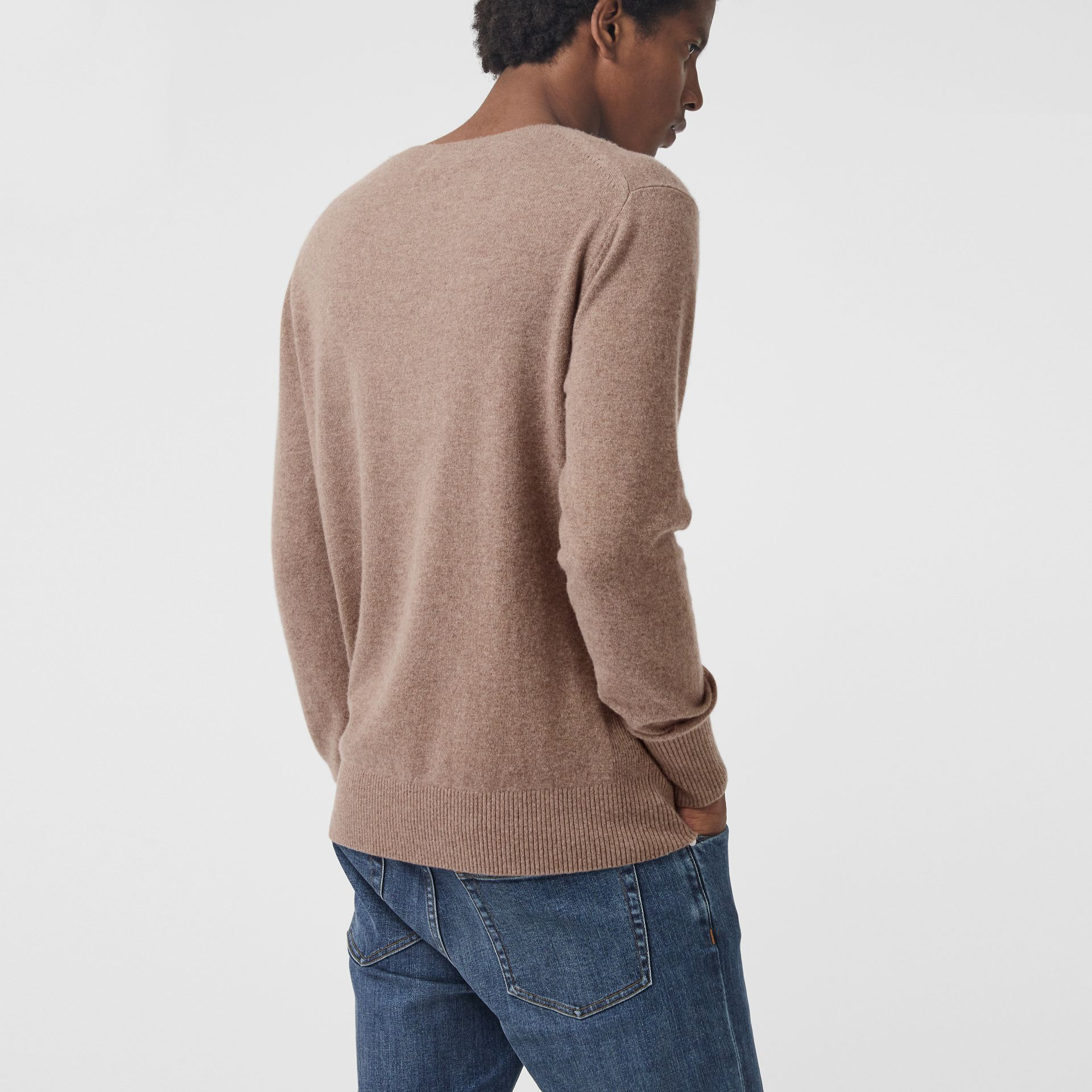 Embroidered Archive Logo Cashmere Sweater in Camel Melange - Men | Burberry - gallery image 2