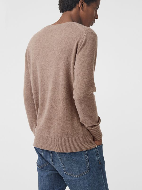Embroidered Archive Logo Cashmere Sweater in Camel Melange - Men | Burberry Australia - cell image 2